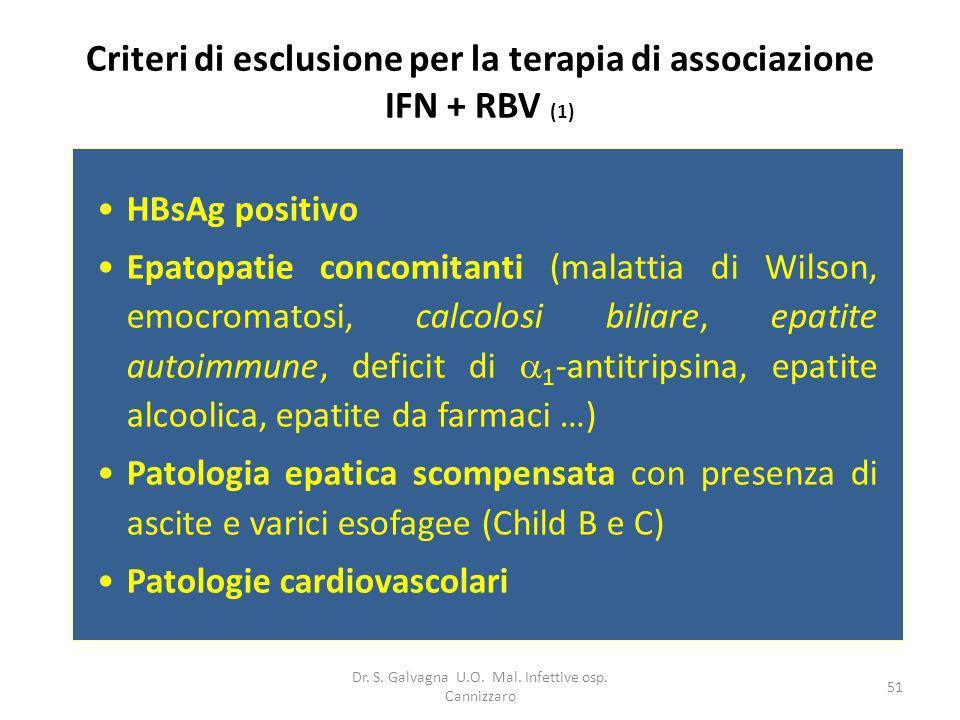 Criteri di esclusione per la terapia di associazione IFN + RBV (1)