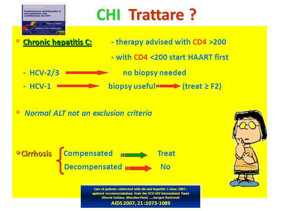 CHI Trattare Chronic hepatitis C: - therapy advised with CD4 >200
