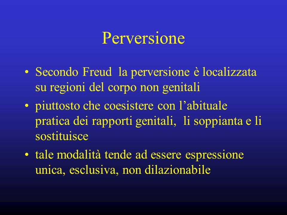 Perversione Secondo Freud la perversione è localizzata su regioni del corpo non genitali.
