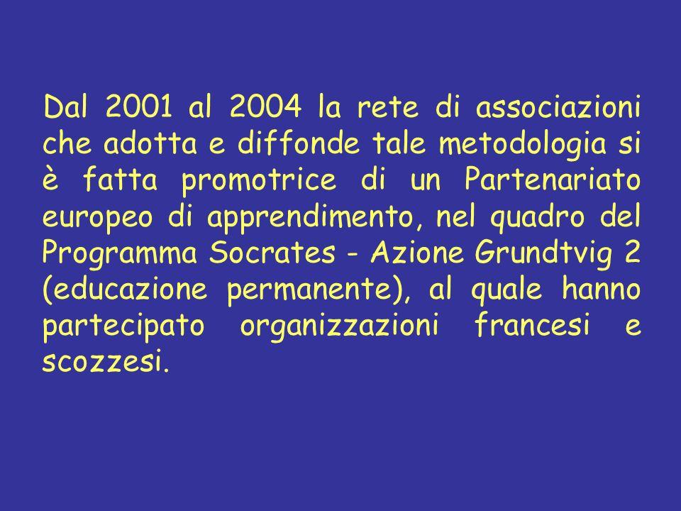 Dal 2001 al 2004 la rete di associazioni che adotta e diffonde tale metodologia si è fatta promotrice di un Partenariato europeo di apprendimento, nel quadro del Programma Socrates - Azione Grundtvig 2 (educazione permanente), al quale hanno partecipato organizzazioni francesi e scozzesi.