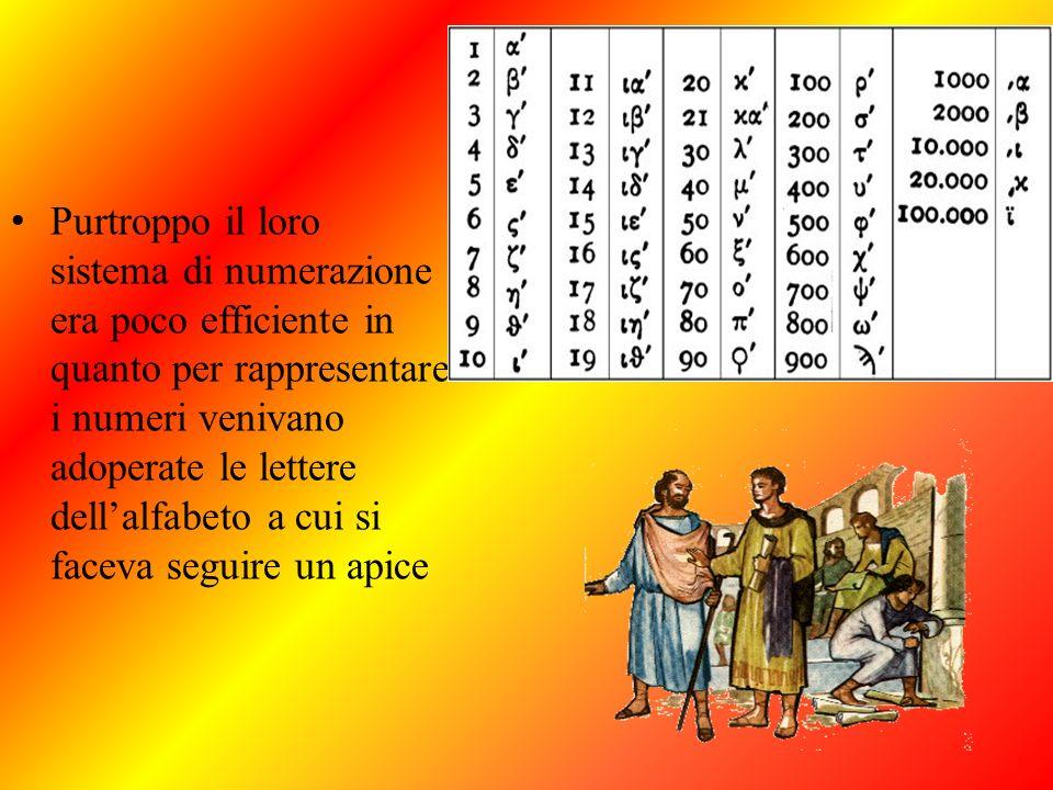 Purtroppo il loro sistema di numerazione era poco efficiente in quanto per rappresentare i numeri venivano adoperate le lettere dell'alfabeto a cui si faceva seguire un apice