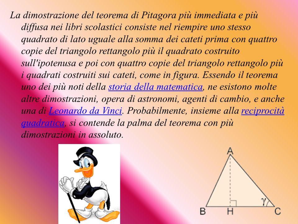 La dimostrazione del teorema di Pitagora più immediata e più diffusa nei libri scolastici consiste nel riempire uno stesso quadrato di lato uguale alla somma dei cateti prima con quattro copie del triangolo rettangolo più il quadrato costruito sull ipotenusa e poi con quattro copie del triangolo rettangolo più i quadrati costruiti sui cateti, come in figura.