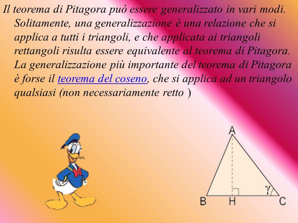 Il teorema di Pitagora può essere generalizzato in vari modi