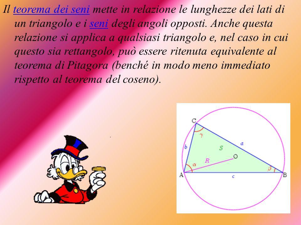 Il teorema dei seni mette in relazione le lunghezze dei lati di un triangolo e i seni degli angoli opposti.