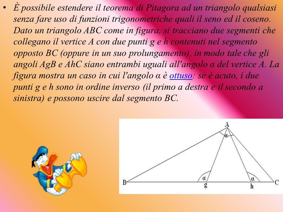 È possibile estendere il teorema di Pitagora ad un triangolo qualsiasi senza fare uso di funzioni trigonometriche quali il seno ed il coseno.