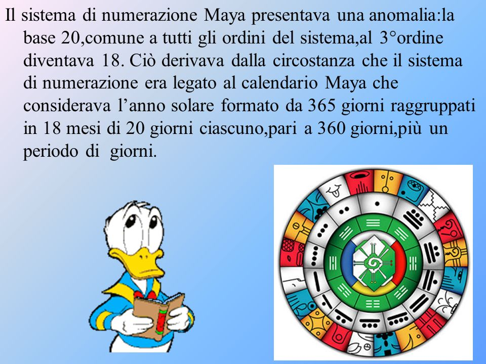 Il sistema di numerazione Maya presentava una anomalia:la base 20,comune a tutti gli ordini del sistema,al 3°ordine diventava 18.