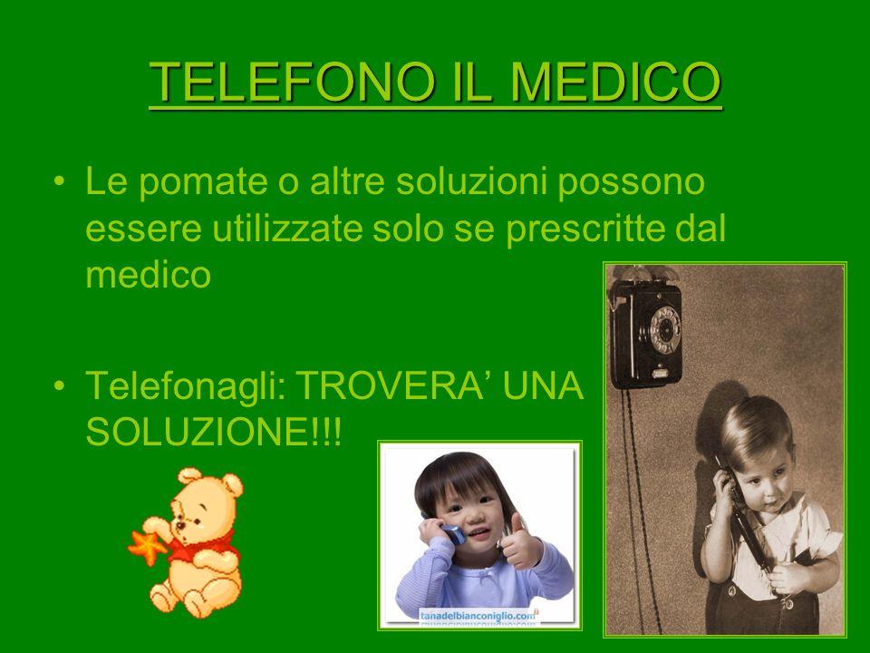 TELEFONO IL MEDICO Le pomate o altre soluzioni possono essere utilizzate solo se prescritte dal medico.