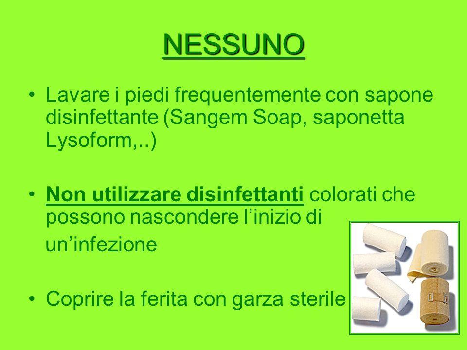 NESSUNO Lavare i piedi frequentemente con sapone disinfettante (Sangem Soap, saponetta Lysoform,..)
