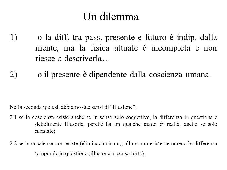 Un dilemma o la diff. tra pass. presente e futuro è indip. dalla mente, ma la fisica attuale è incompleta e non riesce a descriverla…