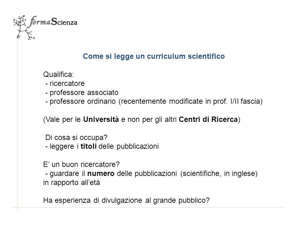 Come si legge un curriculum scientifico