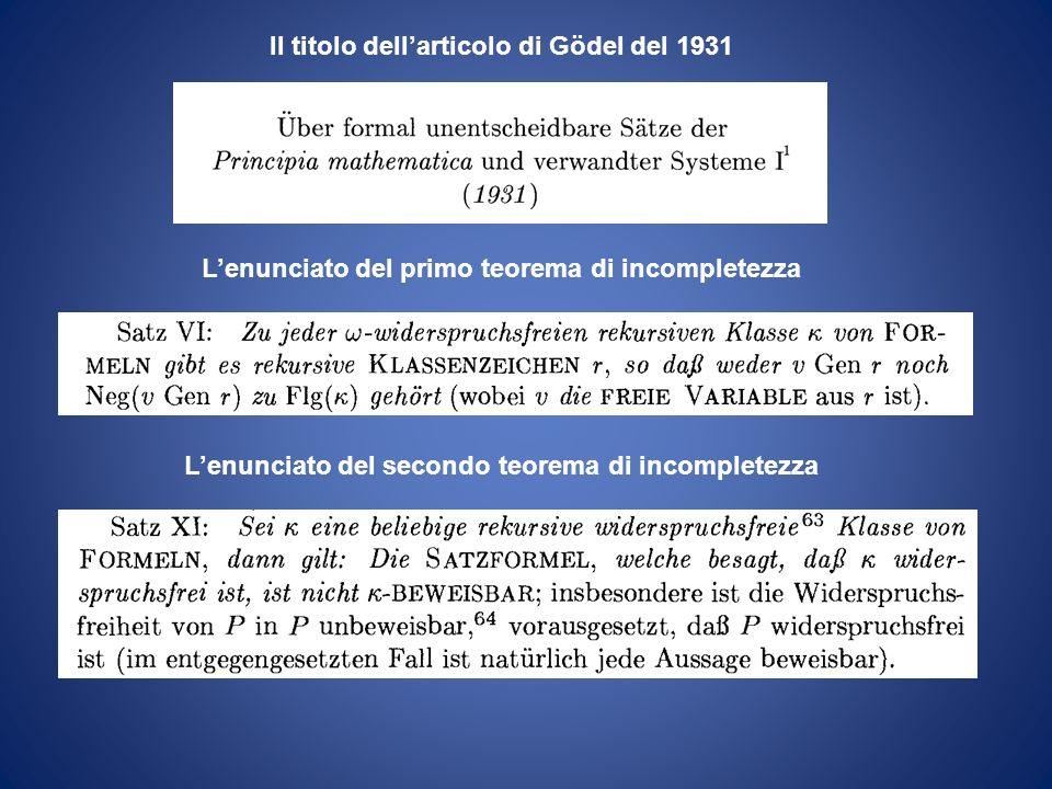 Il titolo dell'articolo di Gödel del 1931