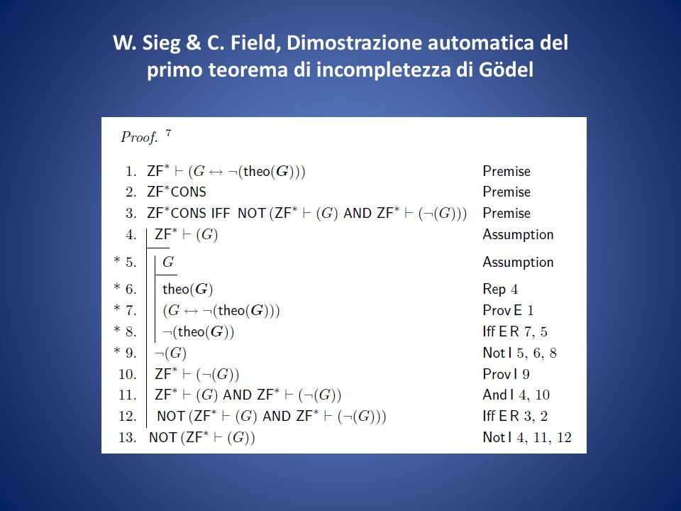 W. Sieg & C. Field, Dimostrazione automatica del primo teorema di incompletezza di Gödel