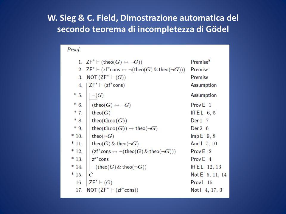 W. Sieg & C. Field, Dimostrazione automatica del secondo teorema di incompletezza di Gödel
