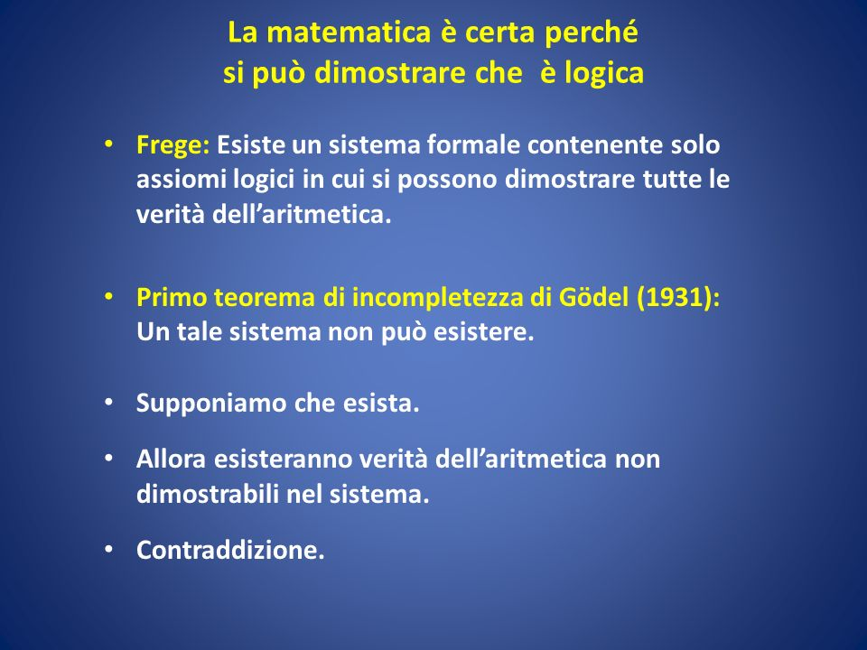 La matematica è certa perché si può dimostrare che è logica