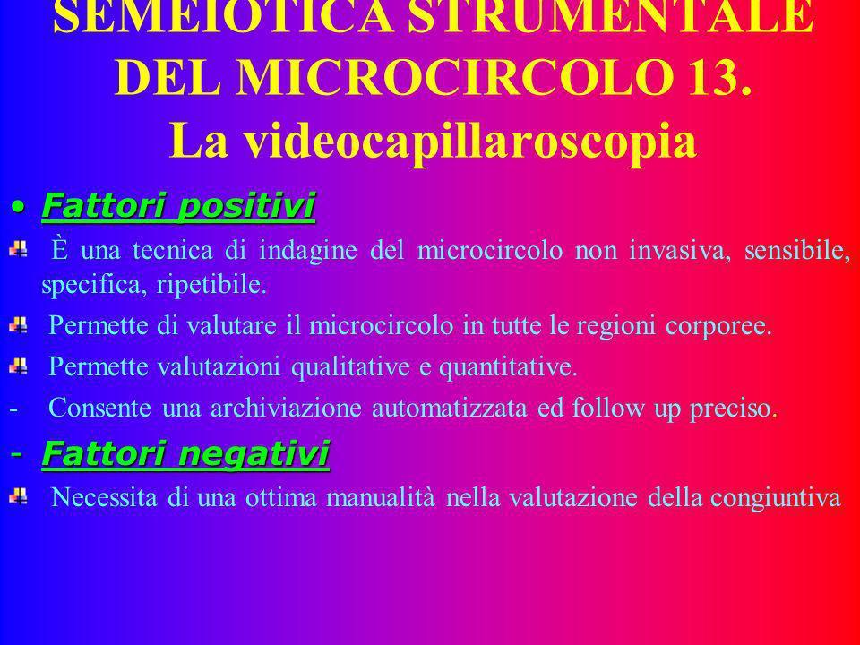 SEMEIOTICA STRUMENTALE DEL MICROCIRCOLO 13. La videocapillaroscopia