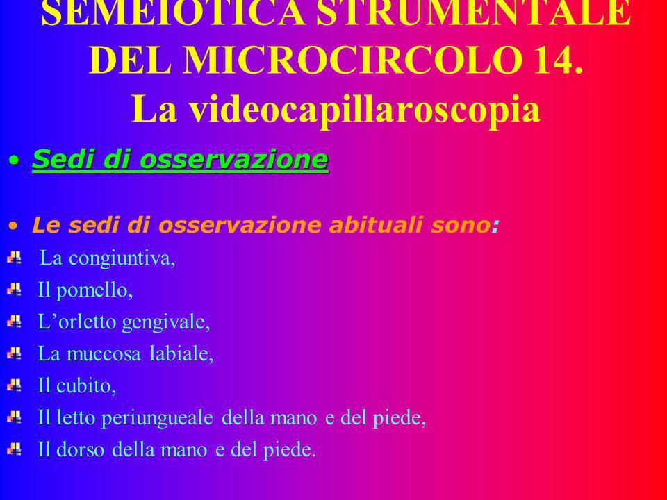 SEMEIOTICA STRUMENTALE DEL MICROCIRCOLO 14. La videocapillaroscopia