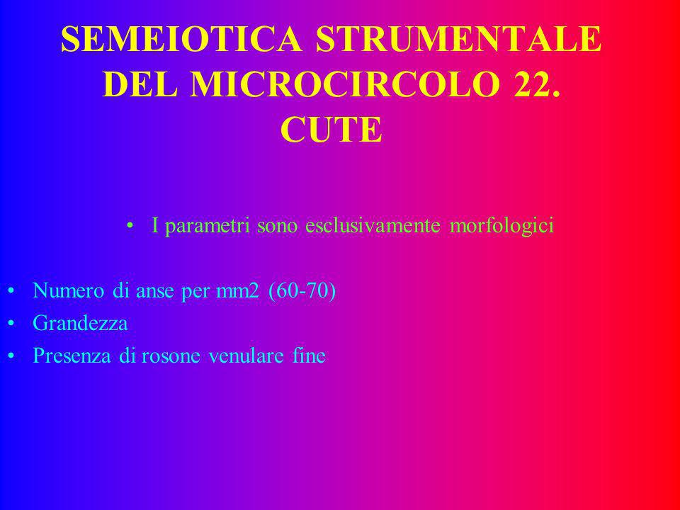 SEMEIOTICA STRUMENTALE DEL MICROCIRCOLO 22. CUTE