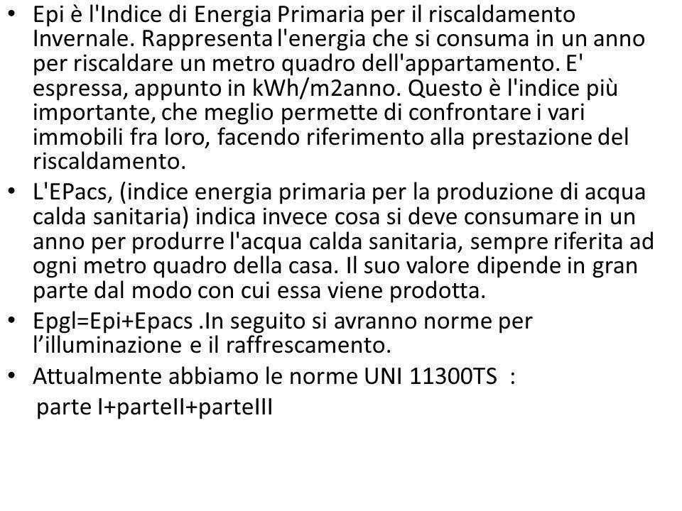 Epi è l Indice di Energia Primaria per il riscaldamento Invernale