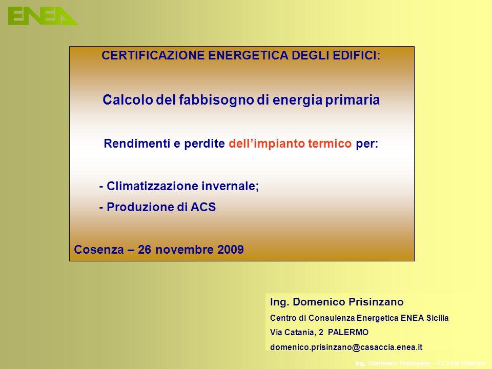 Calcolo del fabbisogno di energia primaria