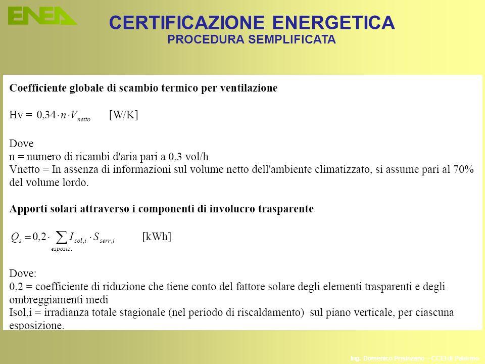 CERTIFICAZIONE ENERGETICA PROCEDURA SEMPLIFICATA