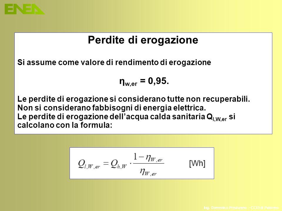 Perdite di erogazione Si assume come valore di rendimento di erogazione. ηw,er = 0,95.
