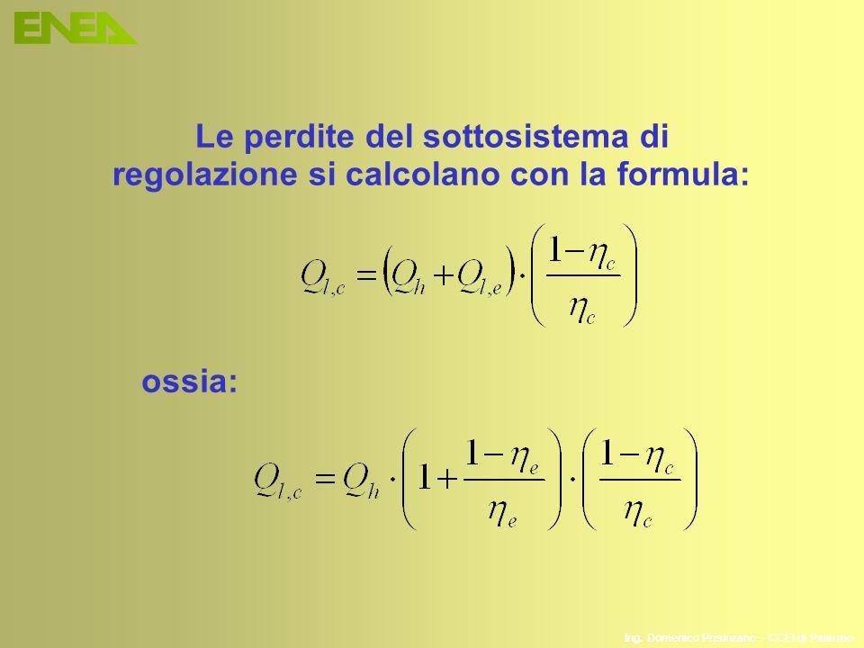 Le perdite del sottosistema di regolazione si calcolano con la formula: