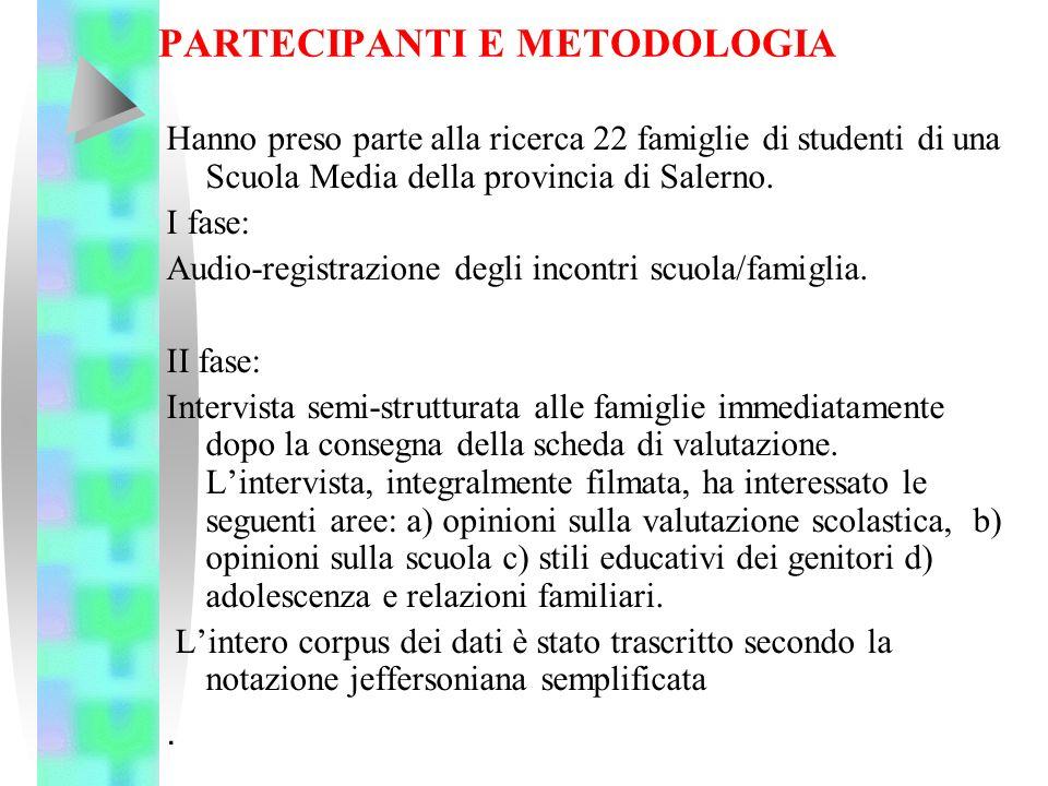 PARTECIPANTI E METODOLOGIA