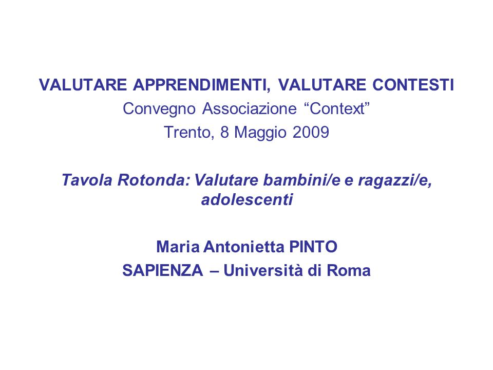 VALUTARE APPRENDIMENTI, VALUTARE CONTESTI