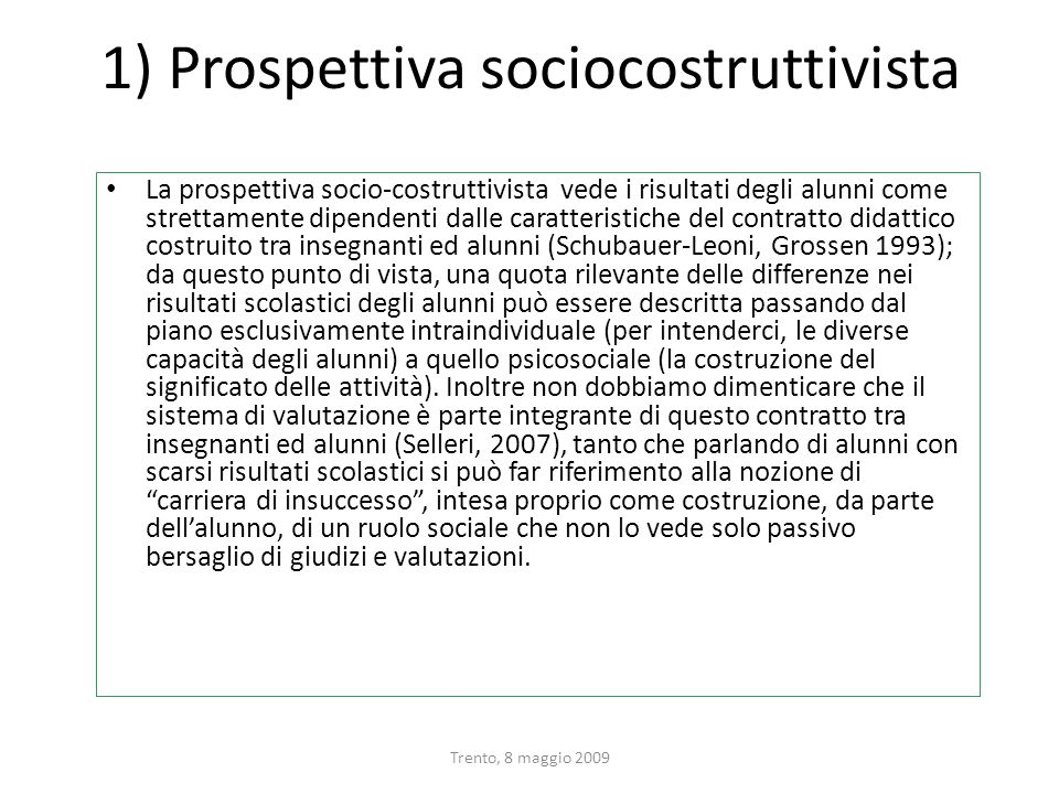 1) Prospettiva sociocostruttivista