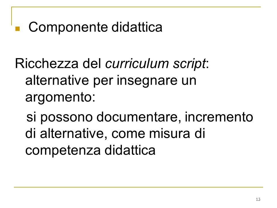 Componente didattica Ricchezza del curriculum script: alternative per insegnare un argomento: