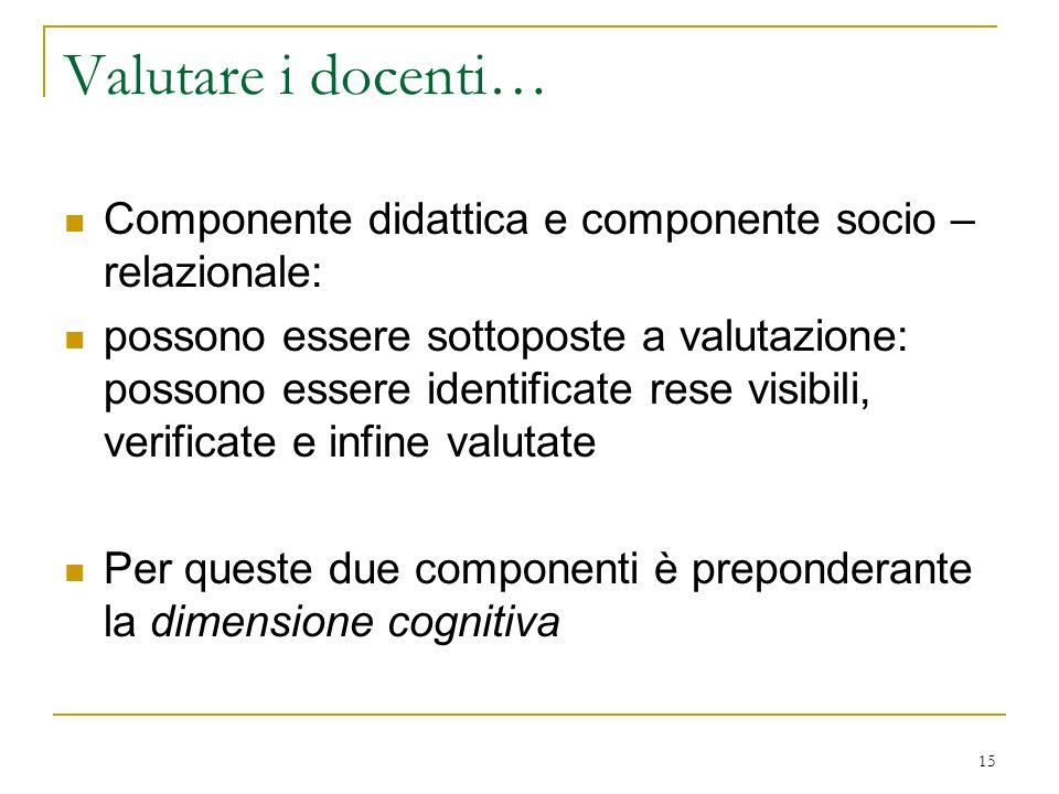Valutare i docenti… Componente didattica e componente socio –relazionale: