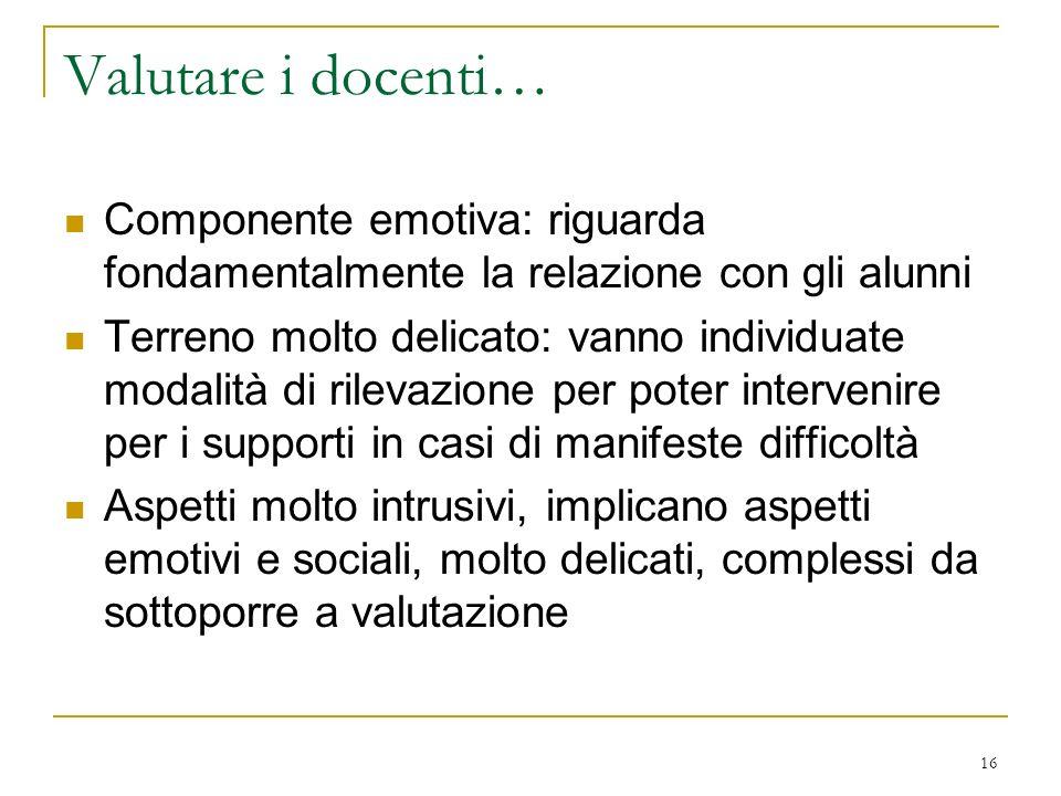 Valutare i docenti… Componente emotiva: riguarda fondamentalmente la relazione con gli alunni.