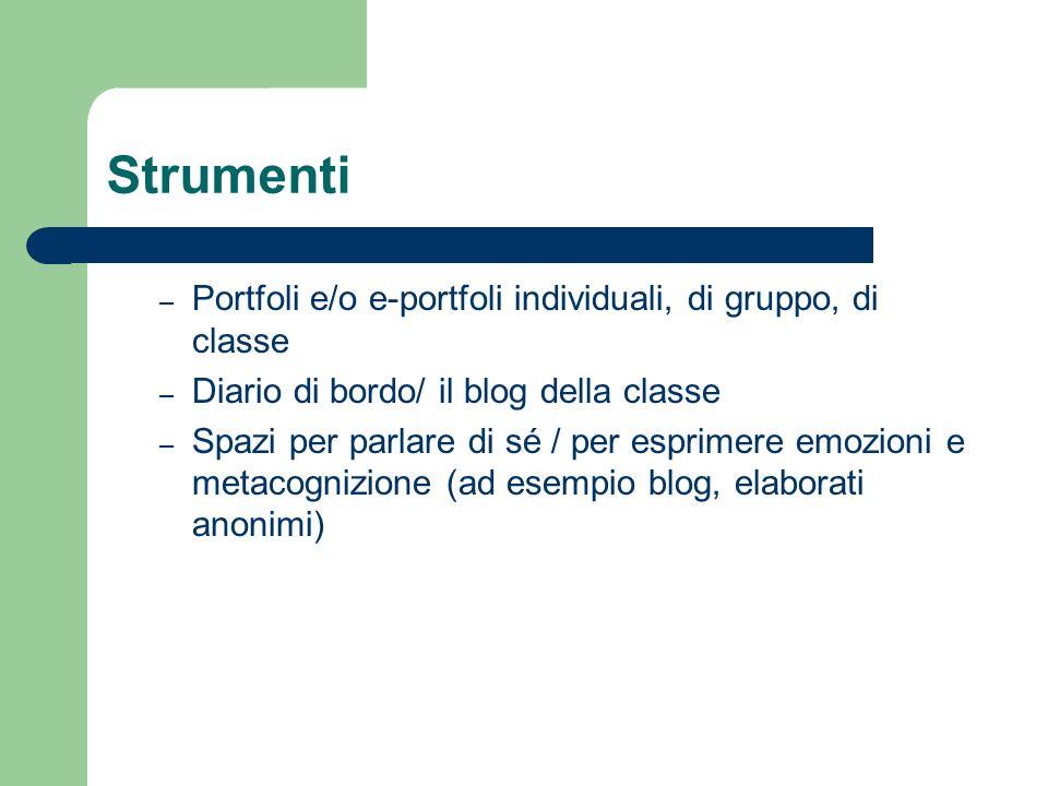 Strumenti Portfoli e/o e-portfoli individuali, di gruppo, di classe