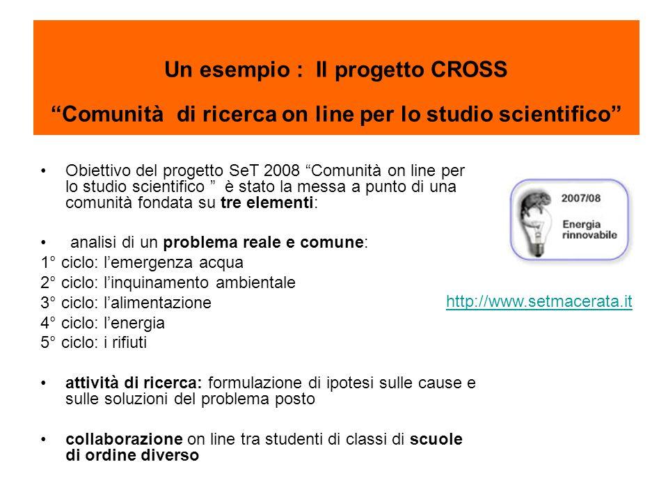 Un esempio : Il progetto CROSS Comunità di ricerca on line per lo studio scientifico