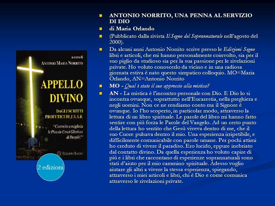 2 edizioni ANTONIO NORRITO, UNA PENNA AL SERVIZIO DI DIO