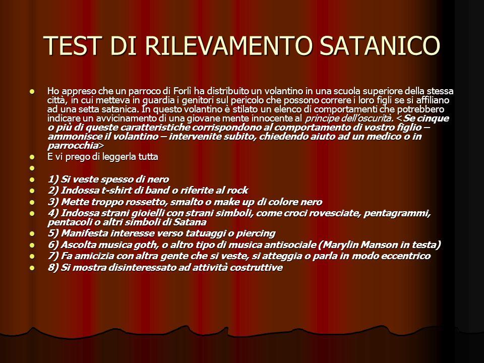TEST DI RILEVAMENTO SATANICO