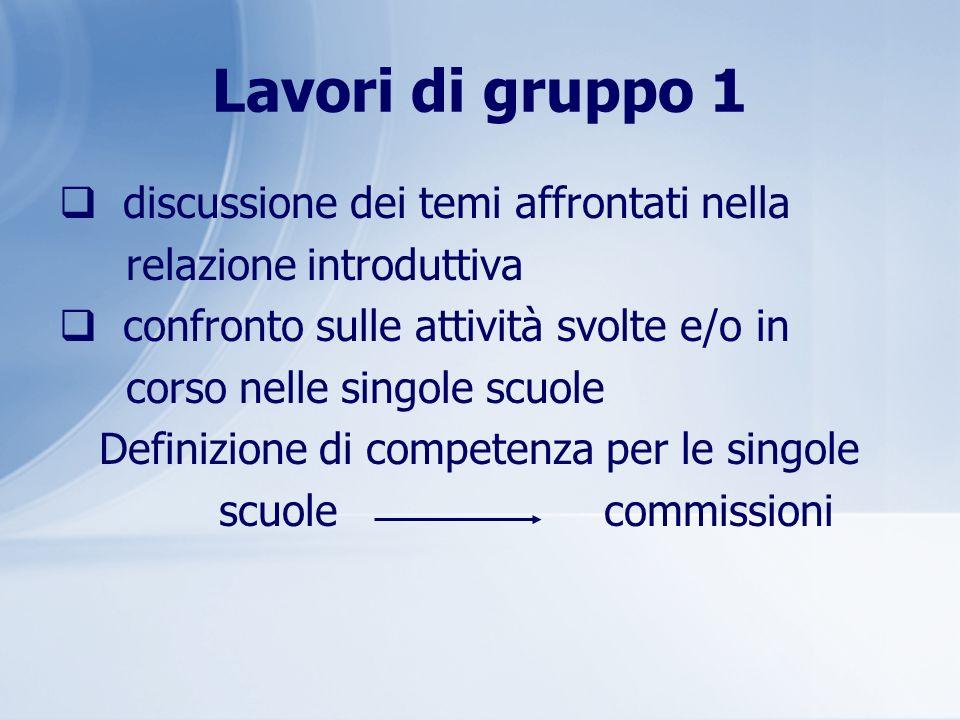 Lavori di gruppo 1 discussione dei temi affrontati nella