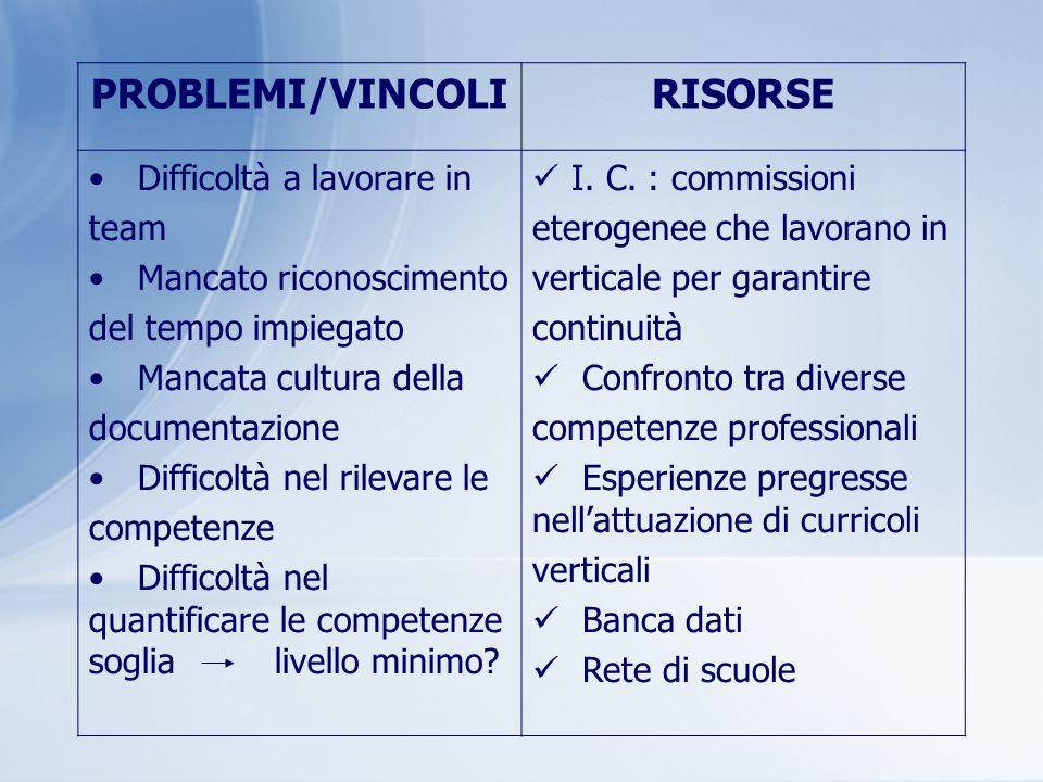 PROBLEMI/VINCOLI RISORSE