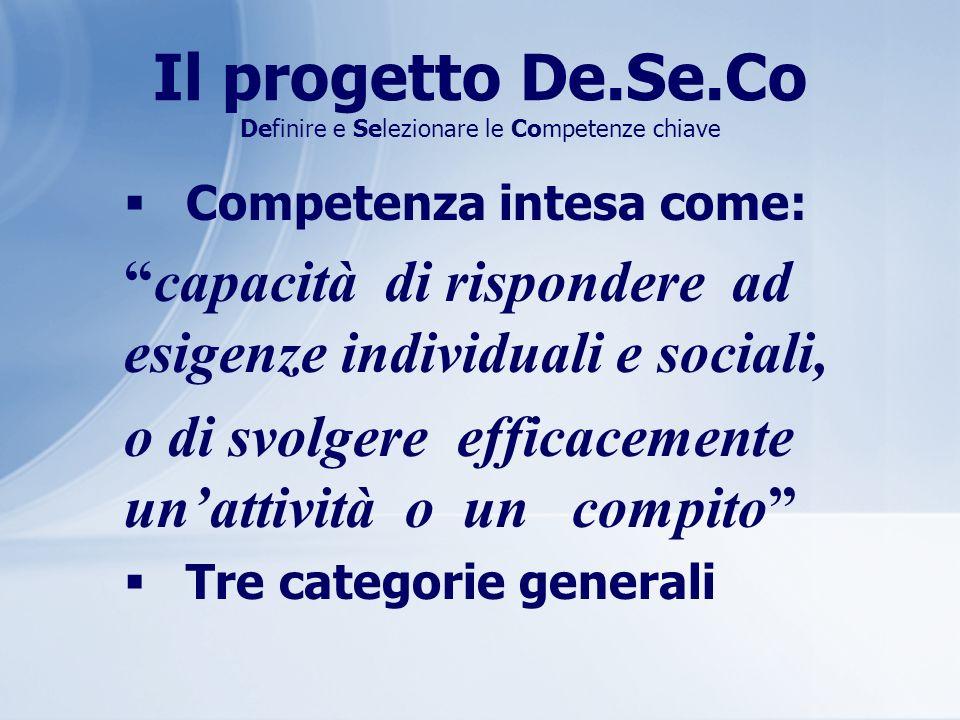 Il progetto De.Se.Co Definire e Selezionare le Competenze chiave