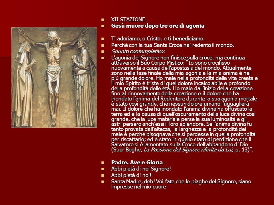 XII STAZIONE Gesù muore dopo tre ore di agonia. Ti adoriamo, o Cristo, e ti benediciamo. Perché con la tua Santa Croce hai redento il mondo.
