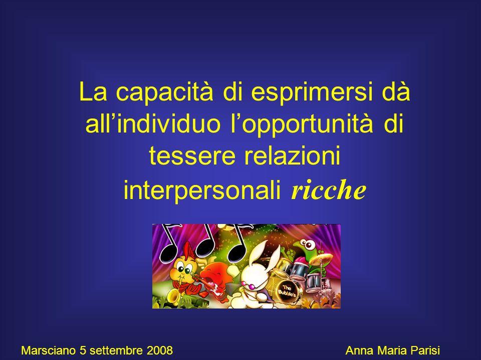 La capacità di esprimersi dà all'individuo l'opportunità di tessere relazioni interpersonali ricche