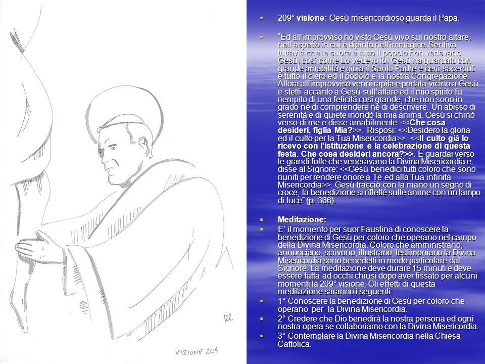 209° visione: Gesù misericordioso guarda il Papa.