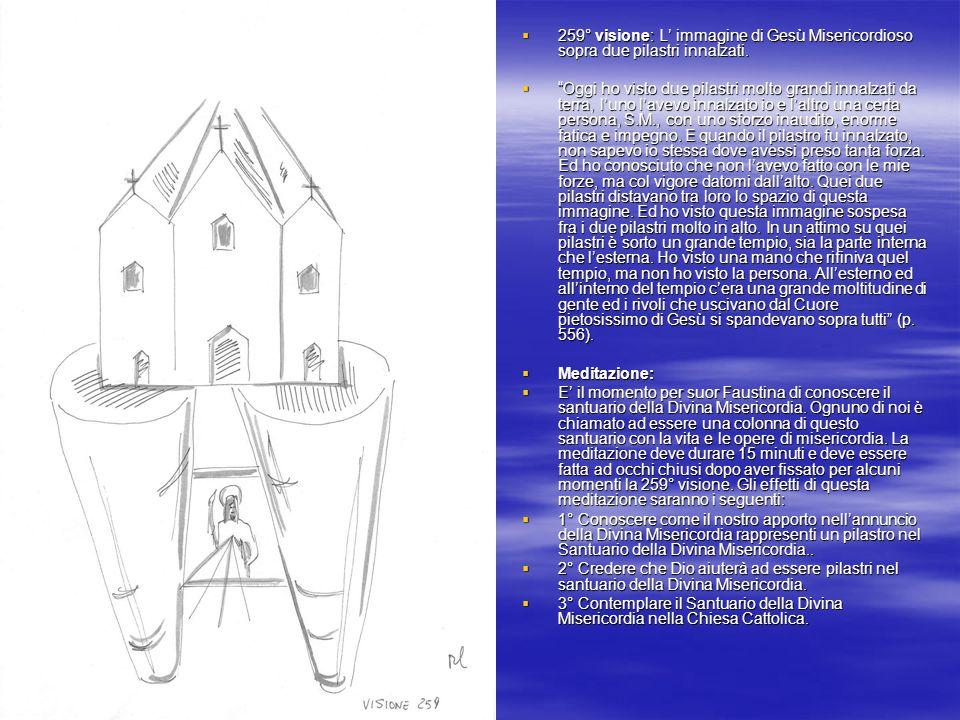 259° visione: L' immagine di Gesù Misericordioso sopra due pilastri innalzati.