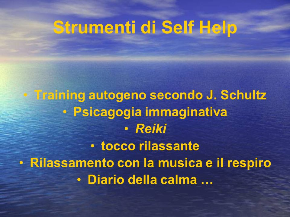 Strumenti di Self Help Training autogeno secondo J. Schultz
