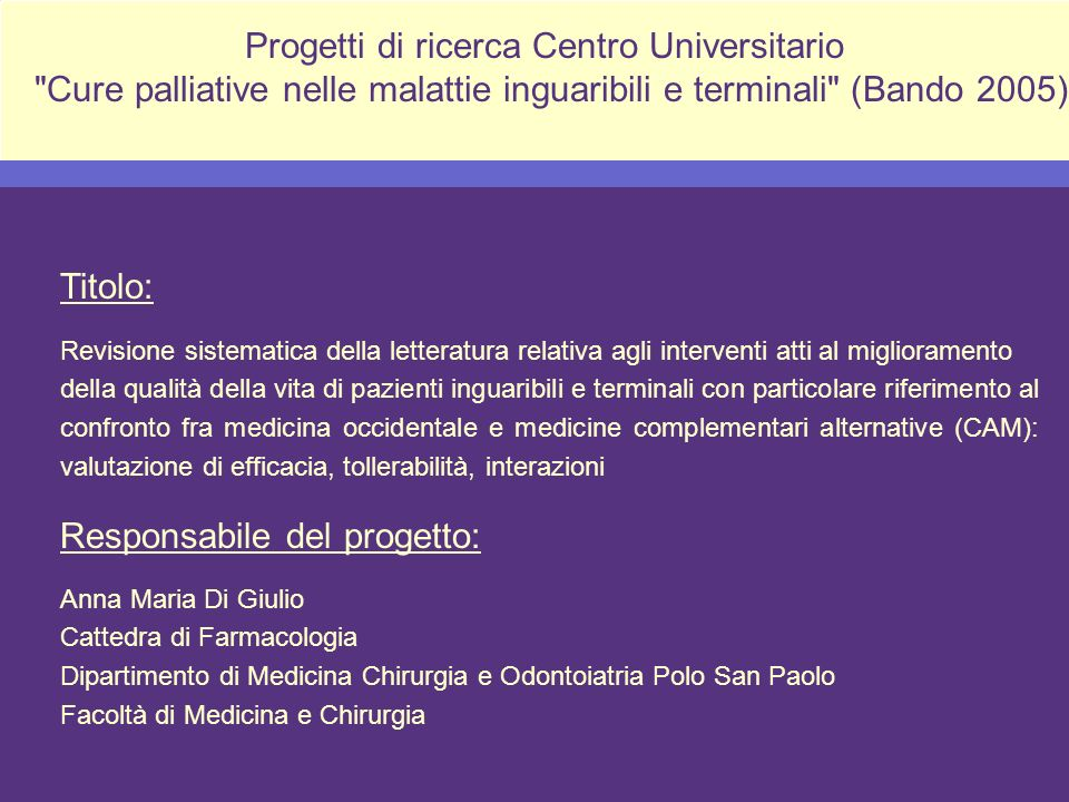 Progetti di ricerca Centro Universitario