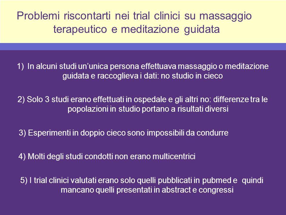 Problemi riscontarti nei trial clinici su massaggio
