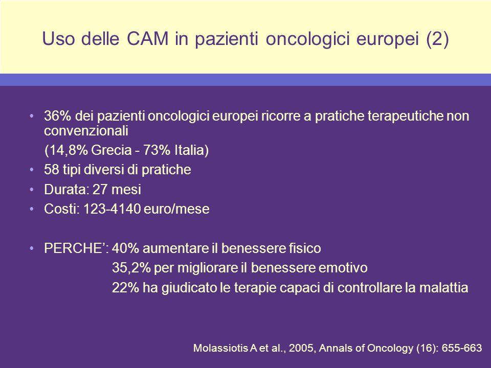 Uso delle CAM in pazienti oncologici europei (2)