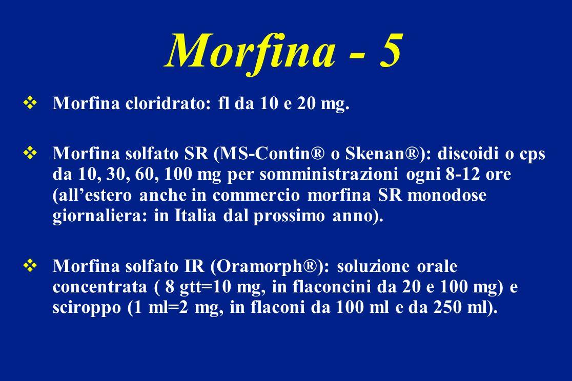 Morfina - 5 Morfina cloridrato: fl da 10 e 20 mg.