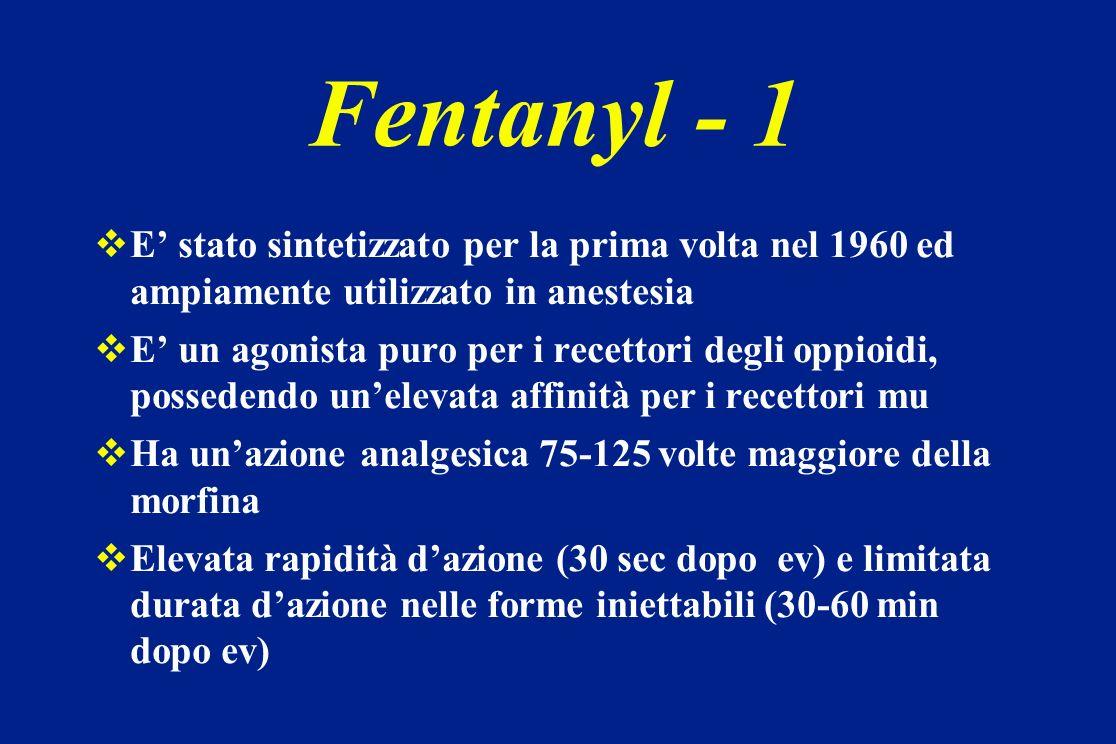 Fentanyl - 1E' stato sintetizzato per la prima volta nel 1960 ed ampiamente utilizzato in anestesia.
