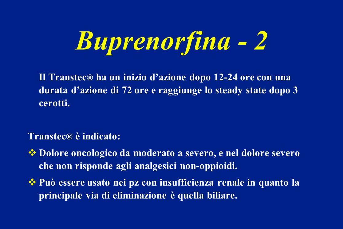 Buprenorfina - 2Il Transtec® ha un inizio d'azione dopo 12-24 ore con una durata d'azione di 72 ore e raggiunge lo steady state dopo 3 cerotti.
